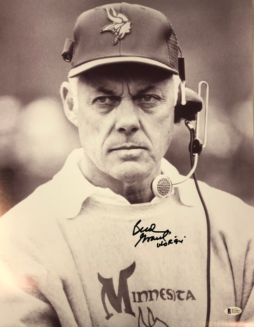 Bud Grant Signed Headset Variation 2 16 x 20 Photo w/ HOF 94