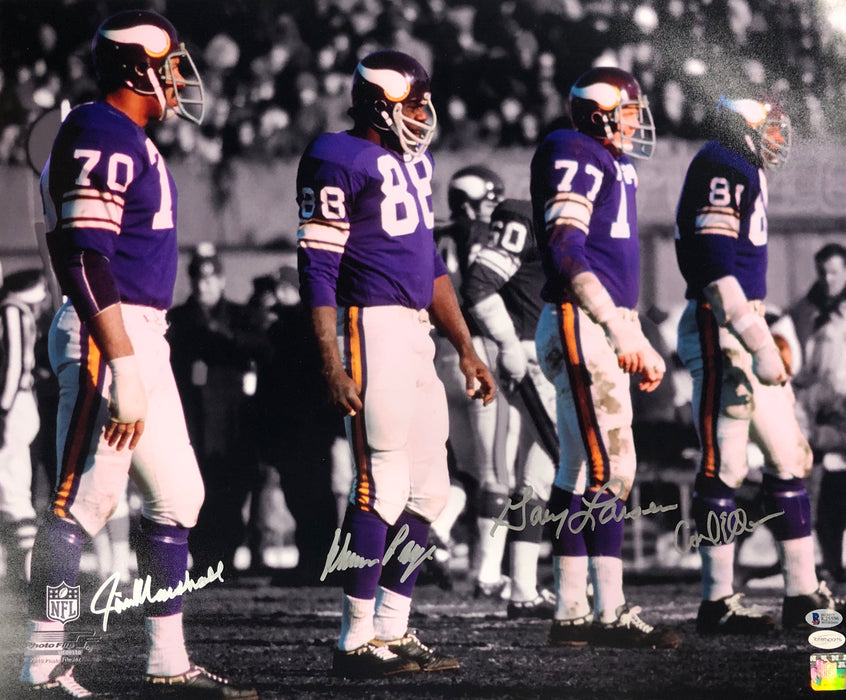 Purple People Eaters Signed Purple Line 20 x 24 Photo - Signed by Page, Eller, Marshall, and Larsen
