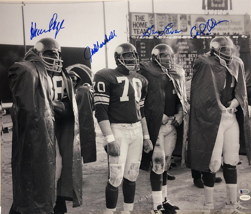 Purple People Eaters Signed Black and White 20 x 24 Photo - Signed by Page, Eller, Marshall, and Larsen