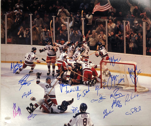 1980 Hockey Miracle Team Celebration Signed by 19 Members 20x24 Photo