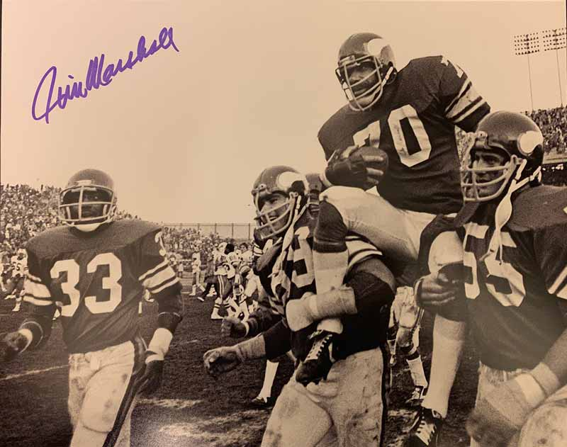 Jim Marshall Autographed on Shoulders 11x14 Photo