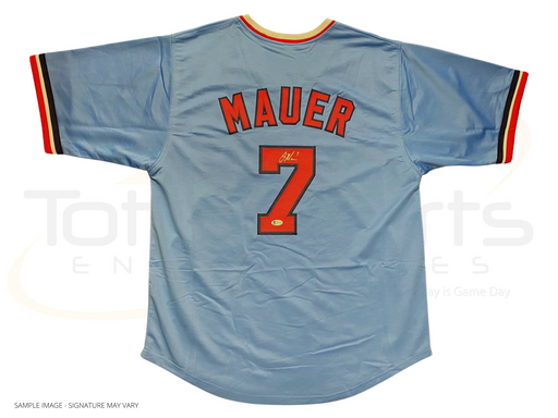 Joe Mauer Signed Custom Throwback Blue Baseball Jersey