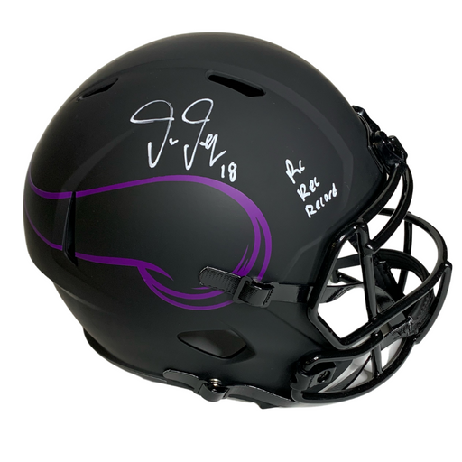 Justin Jefferson Signed Minnesota Vikings Eclipse Rep FS 'Rk Rec Record' Helmet