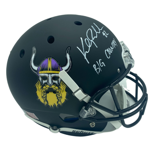 Kyle Rudolph Signed Minnesota Vikings Beard Replica Helmet with BIG COUNTRY
