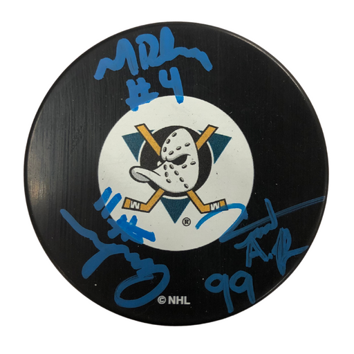 Mighty Ducks (3) Cast Signed Puck - Vincent, Matt, Aaron