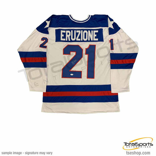 Mike Eruzione Signed Custom White 1980 USA Hockey Jersey