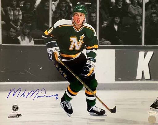 Mike Modano Signed Skating with Stick Spotlight Horizontal 8 x 10 Photo