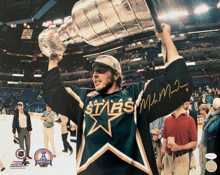 Mike Modano Signed Holding Stanley Cup 8x10 Photo
