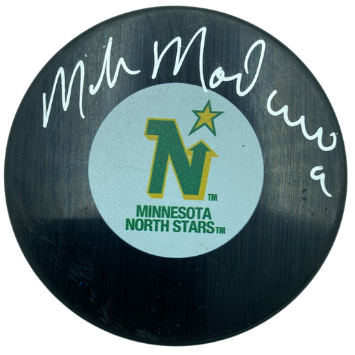 Mike Modano Signed Minnesota North Stars Logo Puck