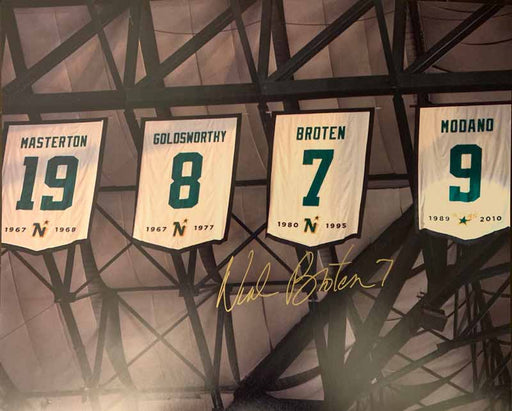 Neal Broten Signed North Stars Banners 16 x 20 Photo