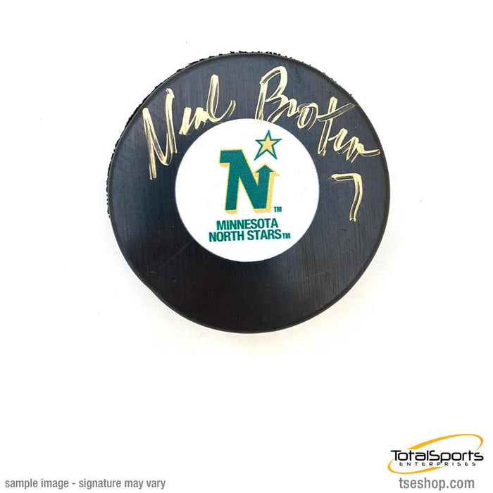 Neal Broten Signed North Stars Logo Puck
