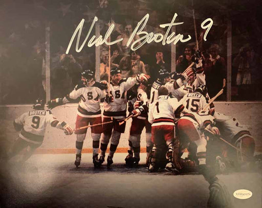 Neal Broten Signed 1980 Hockey Gold Team Celebration Custom 11x14 Photo