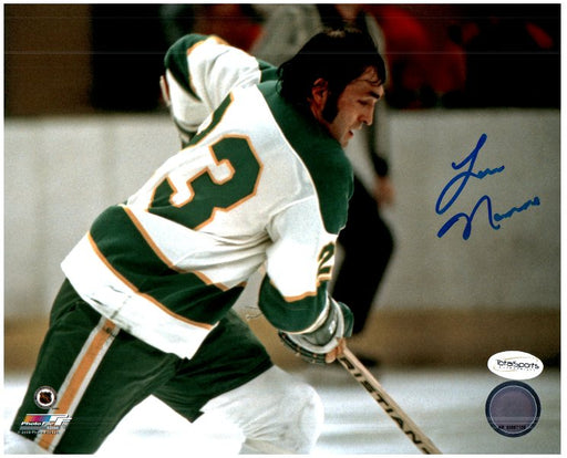 Lou Nanne Signed Skating with No Helm. 8x10 Photo