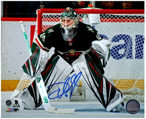 Devan Dubnyk Signed in Goal in Green 8x10 Photo