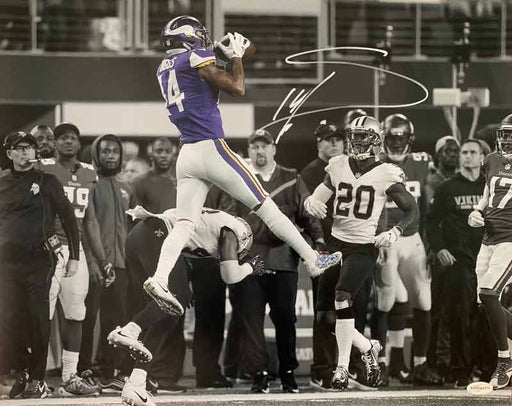 Stefon Diggs Autographed MN Miracle Catch Over Saints Horizontal Spotlight 16x20 Photo