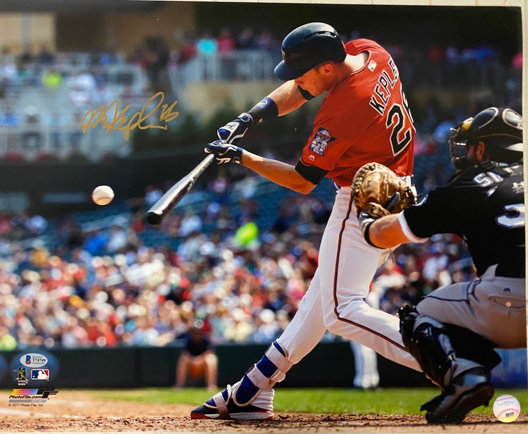 Max Kepler Signed Batting Red Jersey 16x20 Photo
