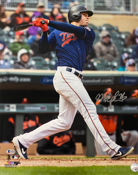 Max Kepler Signed Batting Blue Jersey 16x20 Photo
