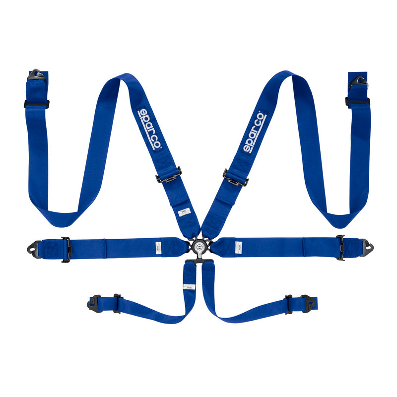 Sparco FIA 6-Point Racing Harness - Steel, Pull-Up Lap Adjusters