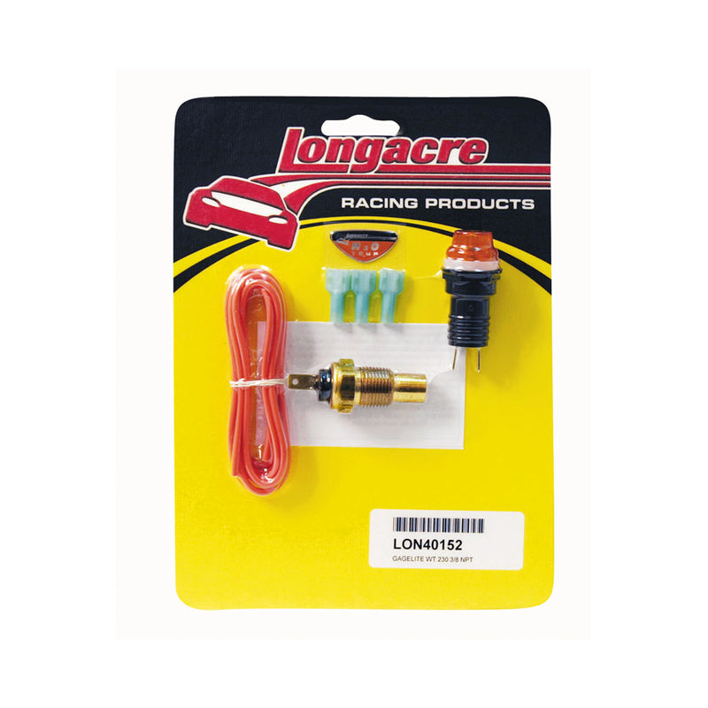 "Longacre Water Temperature Warning Light Kit - 230 Deg, 3/8"" NPT"