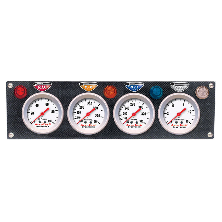 Longacre Accutech Carbon Fiber 4-Gauge Panel - Includes Gauges