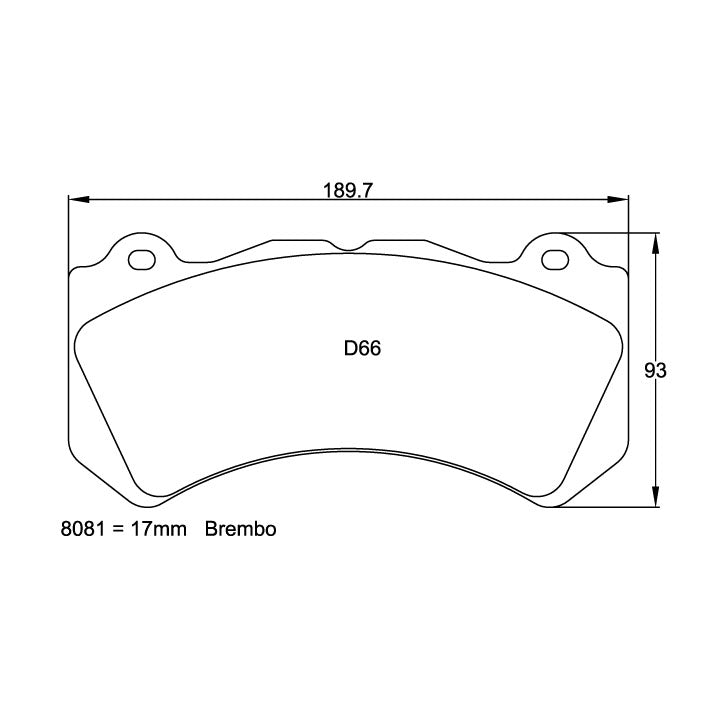 Pagid U-8081 Racing Pad For Ceramic Rotors - RSC-1 Compound