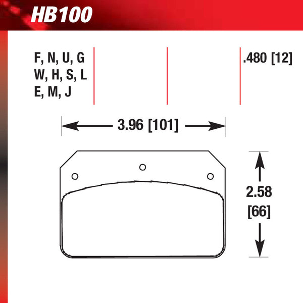 Hawk HB100M.480 Racing Pad - Black Compound