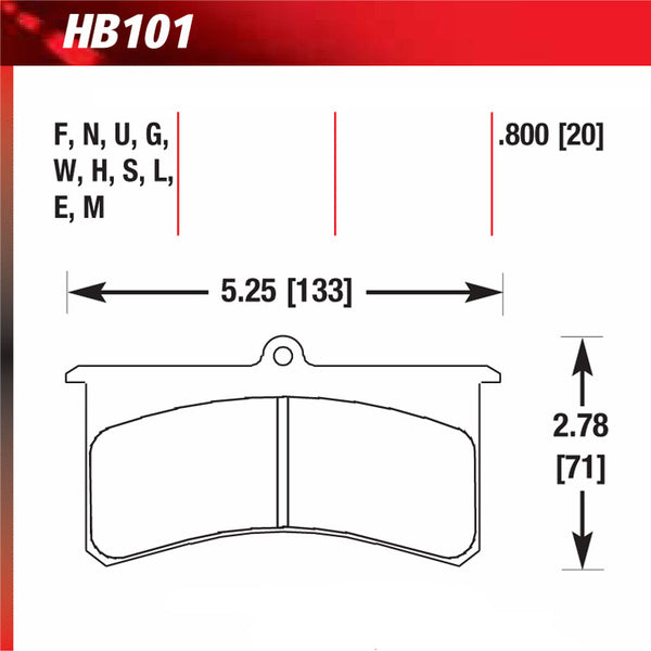 Hawk HB101N.800 Performance Pad - HP Plus Compound