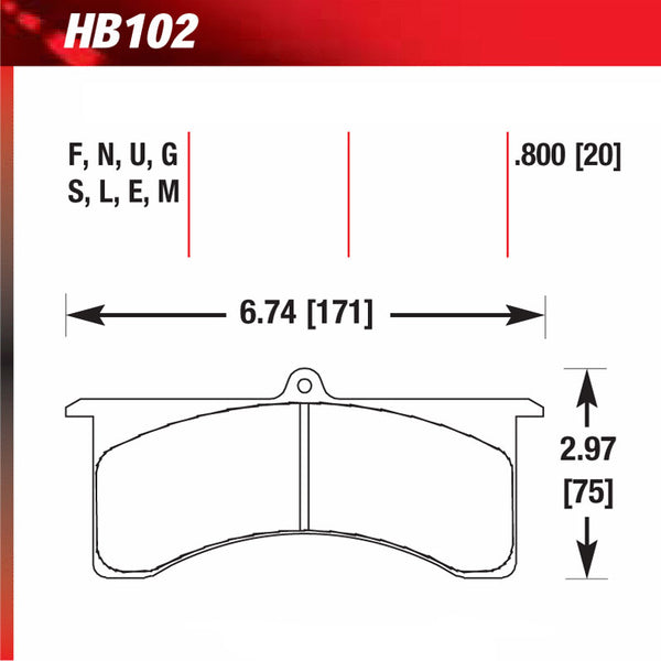 Hawk HB102S.800 Racing Pad - HT-10 Compound