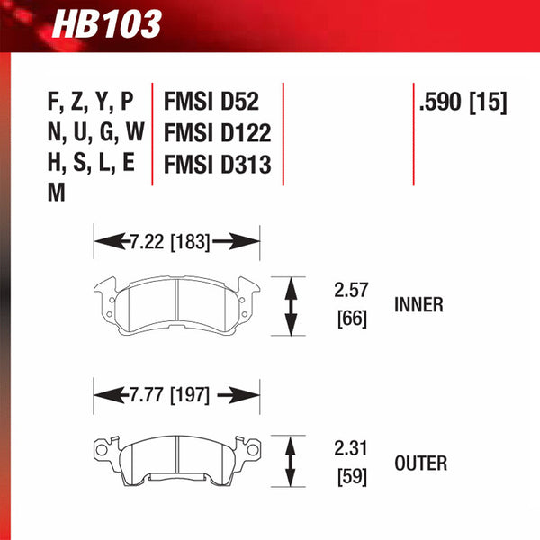Hawk HB103S.590 Racing Pad - HT-10 Compound