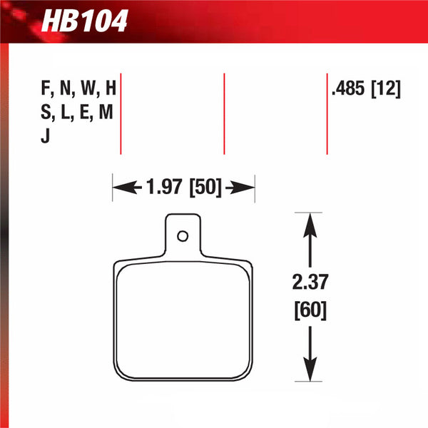 Hawk HB104M.485 Racing Pad - Black Compound