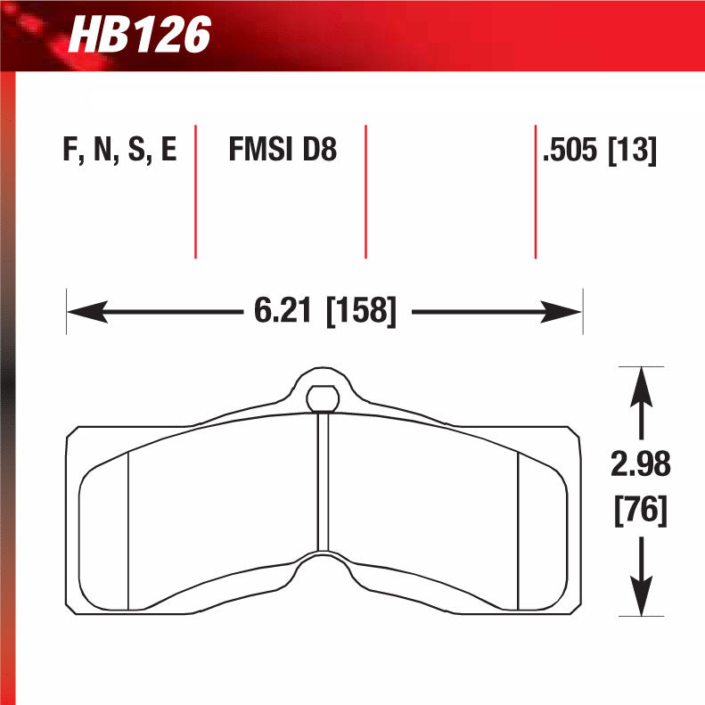 Hawk HB126S.505 Racing Pad - HT-10 Compound