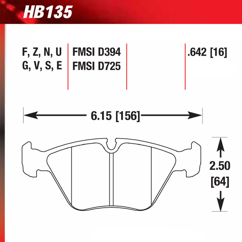 Hawk HB135V.760 Racing Pad - HT-14 Compound