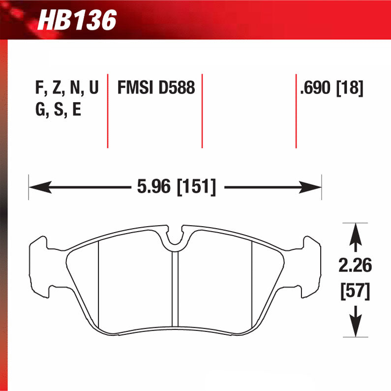 Hawk HB136U.690 Racing Pad - DTC-70 Compound
