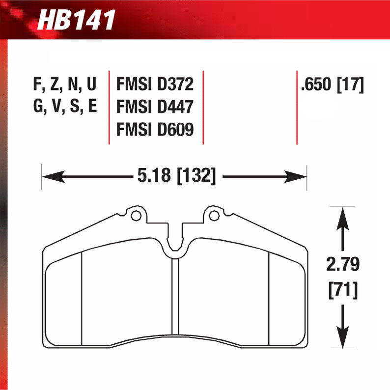 Hawk HB141G.650 Racing Pad - DTC-60 Compound