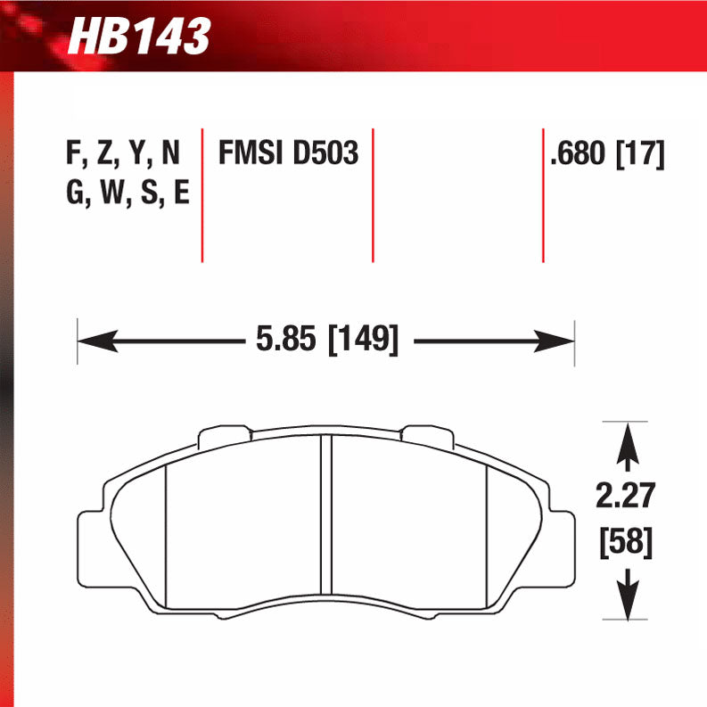 Hawk HB143N.680 Performance Pad - HP Plus Compound