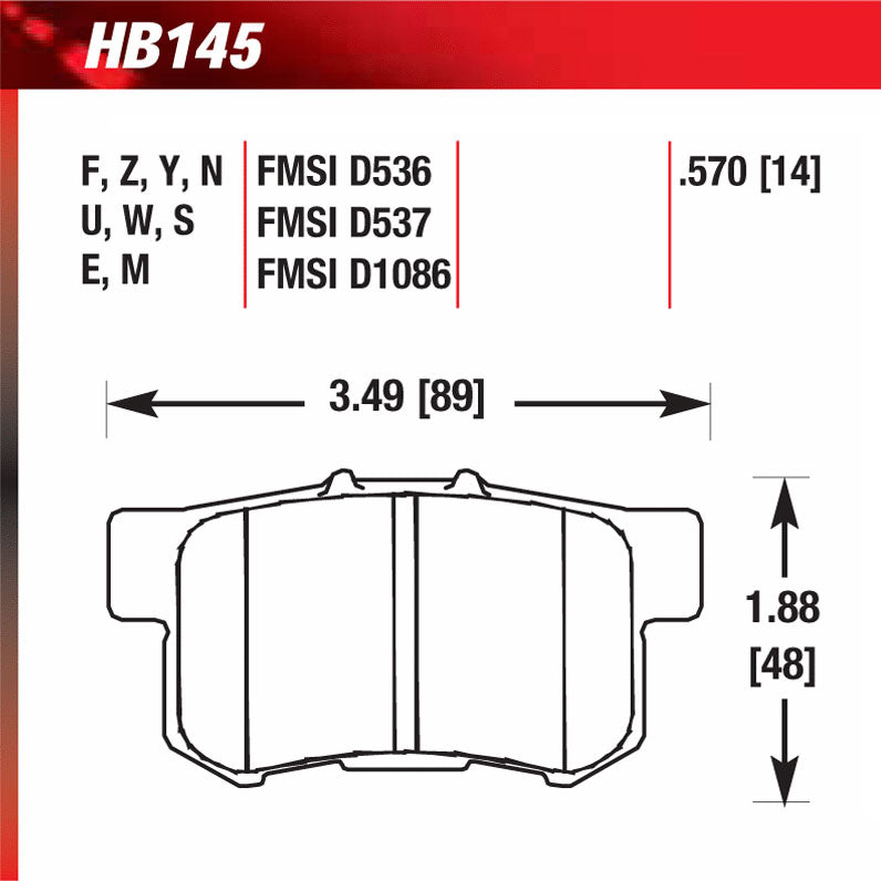 Hawk HB145F.570 Street Performance Pad - HPS Compound