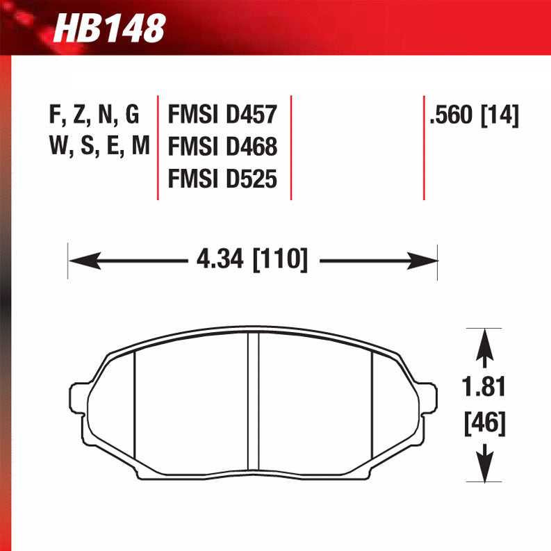 Hawk HB148N.560 Performance Pad - HP Plus Compound