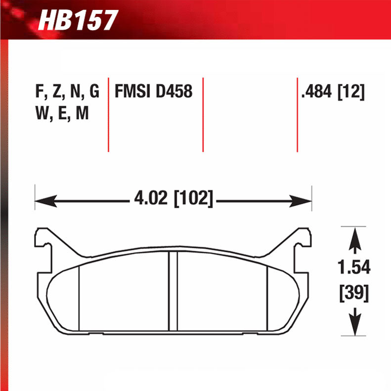 Hawk HB157W.484 Racing Pad - DTC-30 Compound