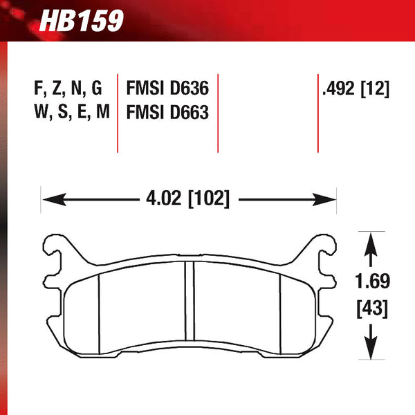 Hawk HB159W.492 Racing Pad - DTC-30 Compound