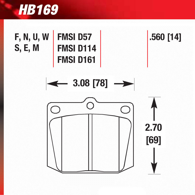 Hawk HB169M.560 Racing Pad - Black Compound