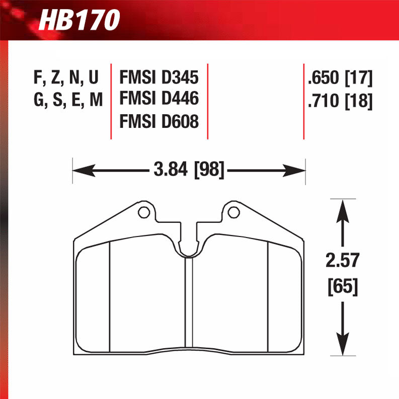 Hawk HB170N.650 Performance Pad - HP Plus Compound