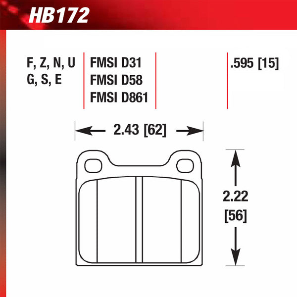 Hawk HB172E.595 Racing Pad - Blue Compound
