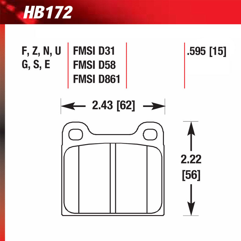 Hawk HB172M.595 Racing Pad - Black Compound