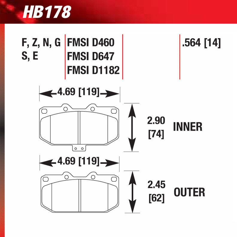 Hawk HB178G.564 Racing Pad - DTC-60 Compound