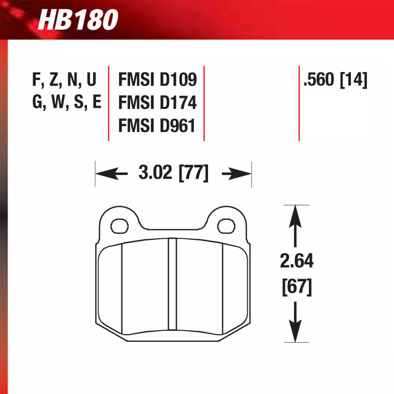Hawk HB180G.560 Racing Pad - DTC-60 Compound