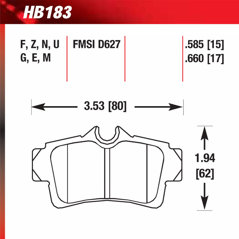 Hawk HB183G.585 Racing Pad - DTC-60 Compound