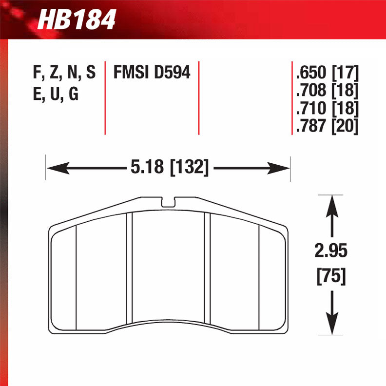 Hawk HB184U.650 Racing Pad - DTC-70 Compound