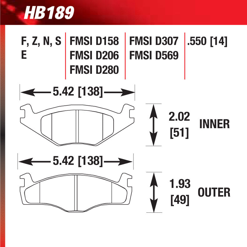 Hawk HB189S.550 Racing Pad - HT-10 Compound