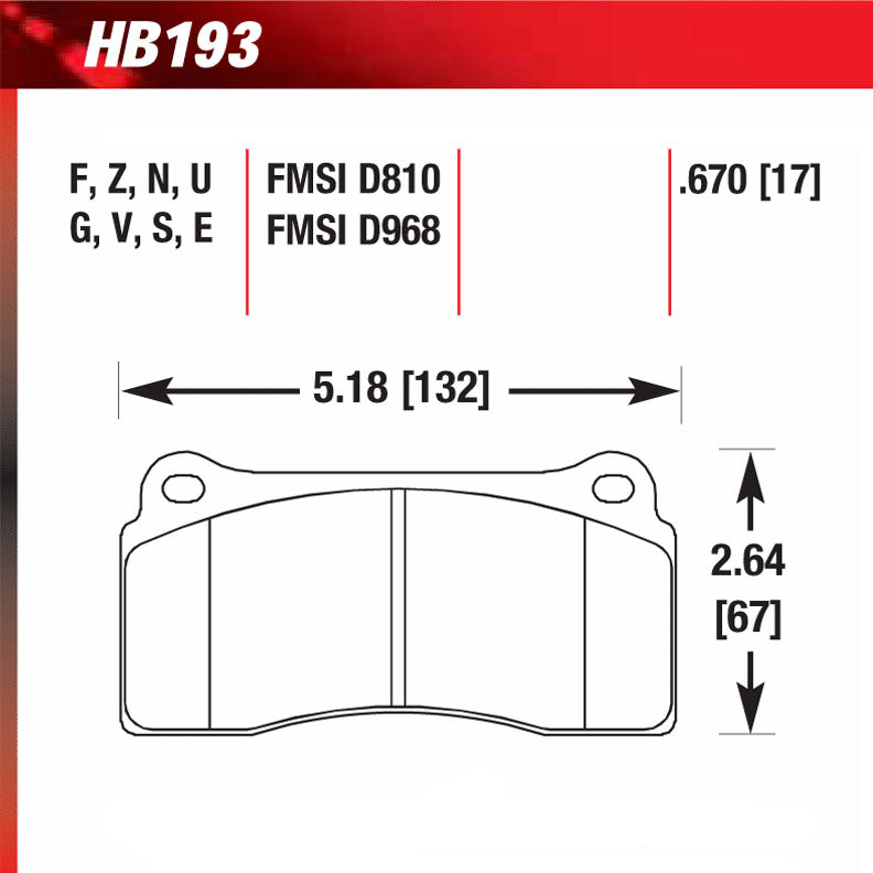 Hawk HB193W.670 Racing Pad - DTC-30 Compound
