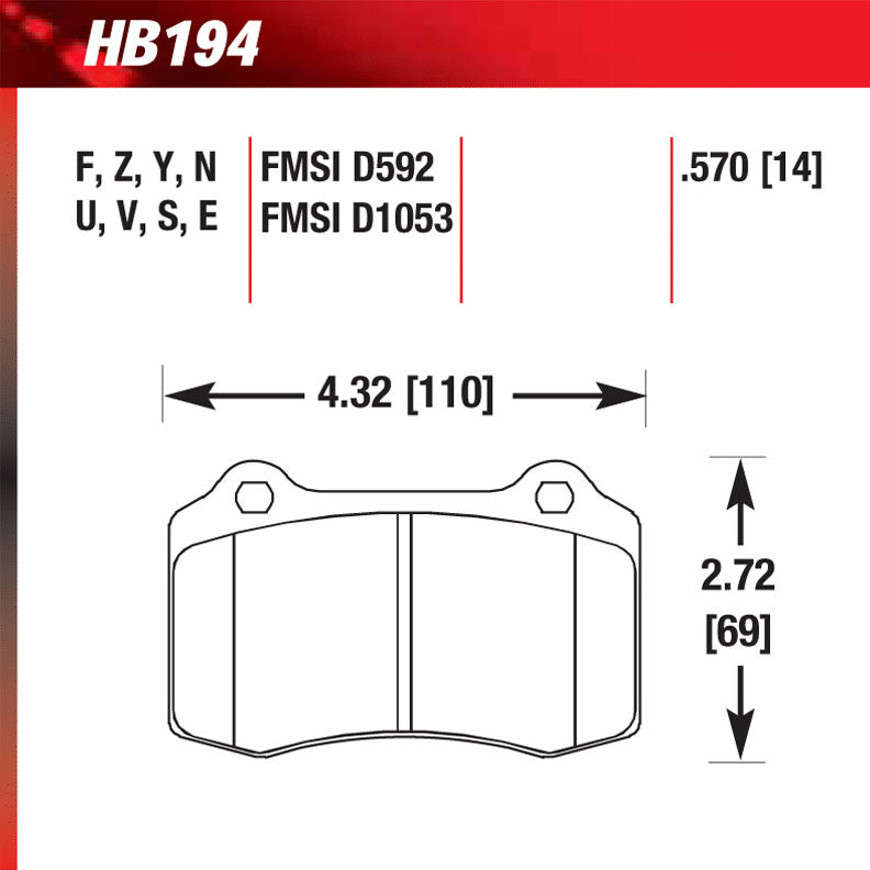 Hawk HB194W.570 Racing Pad - DTC-30 Compound
